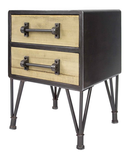 Homeroots Charcoal Natural Wood 2 Drawers End Table OCN-319721