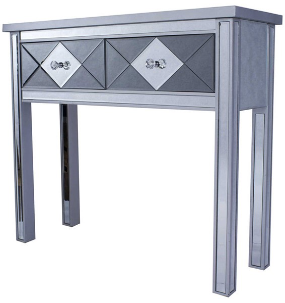 Homeroots Silver Wood Mirrored Console Table with 2 Drawers OCN-319732