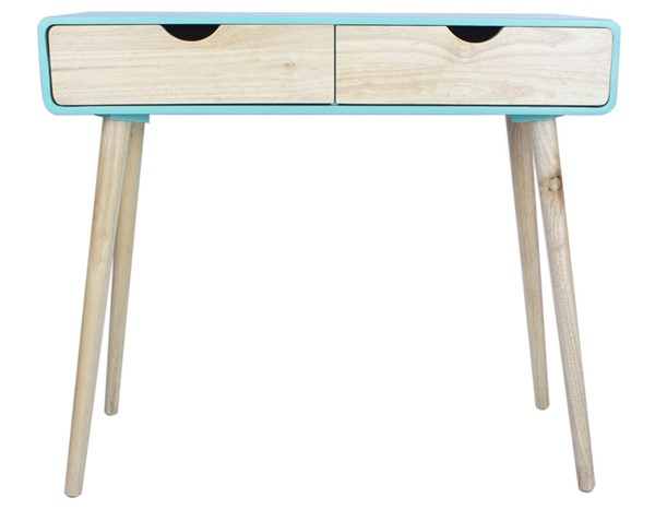 Homeroots Aqua Wood Console Table with 2 Drawers OCN-319736
