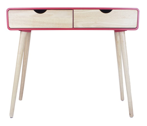 Homeroots Red Wood Console Table with 2 Drawers OCN-319738