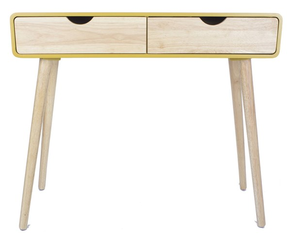 Homeroots Yellow Wood Console Table with 2 Drawers OCN-319739