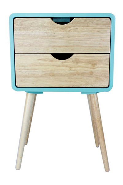 Homeroots Aqua Wood End Tables with 2 Drawers OCN-319740-ET-VAR