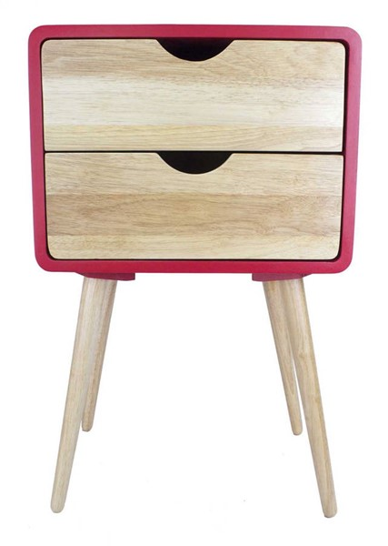 Homeroots Red Wood End Table with 2 Drawers OCN-319742
