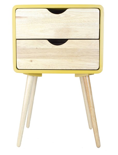 Homeroots Yellow Wood End Table with 2 Drawers OCN-319743