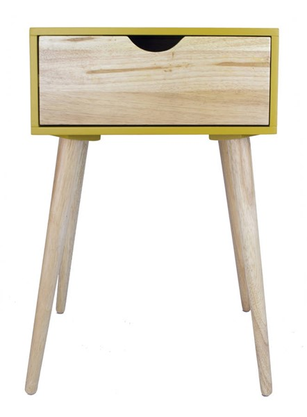 Homeroots Yellow Wood End Table with 1 Drawer OCN-319747