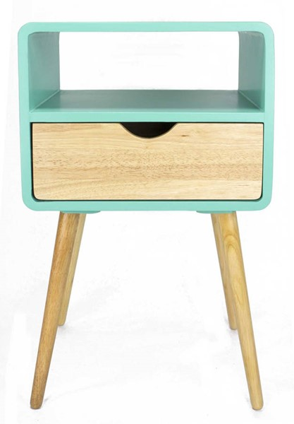 Homeroots Aqua Wood End Table with 1 Drawer and Shelf OCN-319748