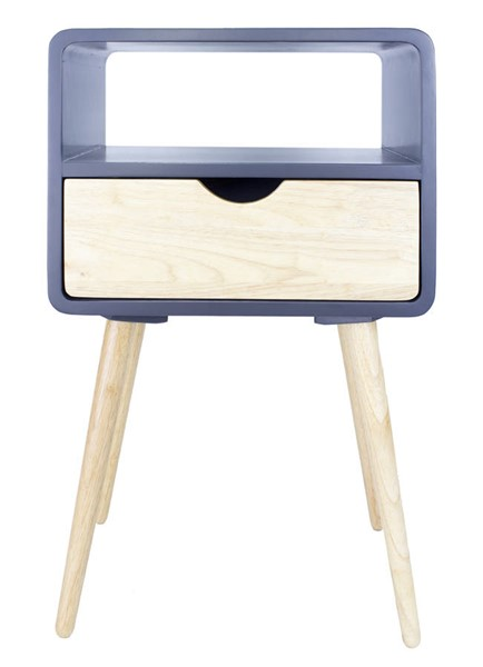 Homeroots Graphite Wood End Table with 1 Drawer and Shelf OCN-319749