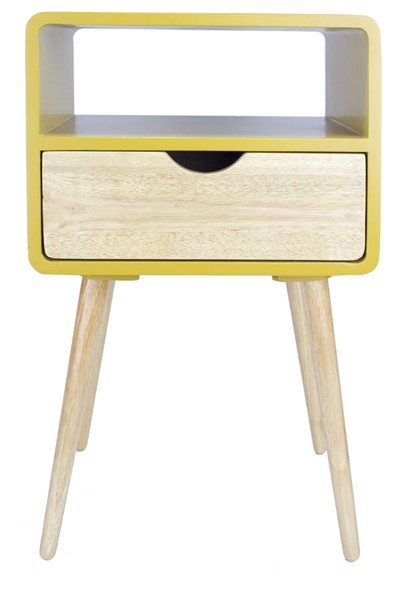 Homeroots Yellow Wood End Table with 1 Drawer and Shelf OCN-319751
