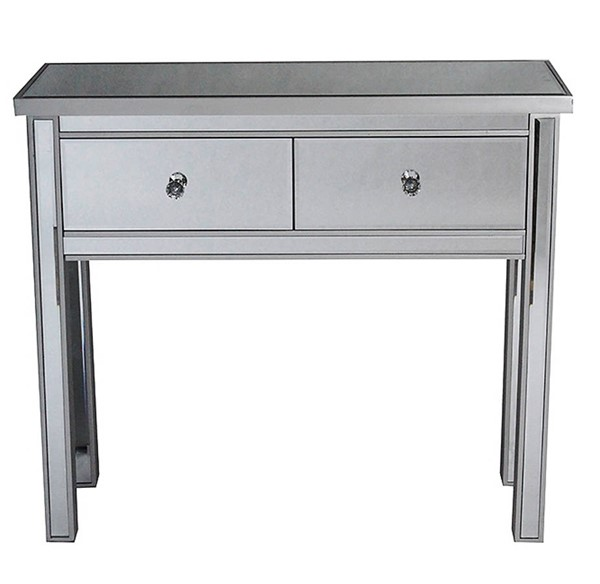 Homeroots Silver Wood Mirrored 2 Drawers Console Table OCN-319815