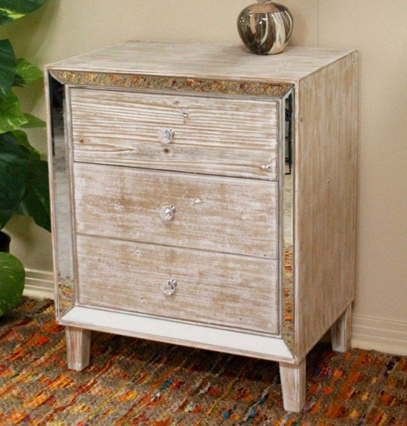 Homeroots White Washed Wood Mirror Accent Cabinet with 3 Drawers OCN-319824