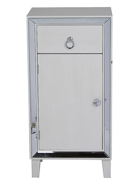 Homeroots Antique White Wood Mirror Accent Cabinet with Drawer and Door OCN-319827