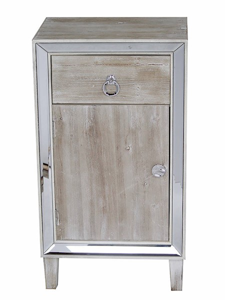 Homeroots White Washed Wood Mirror Accent Cabinet with Drawer and Door OCN-319828