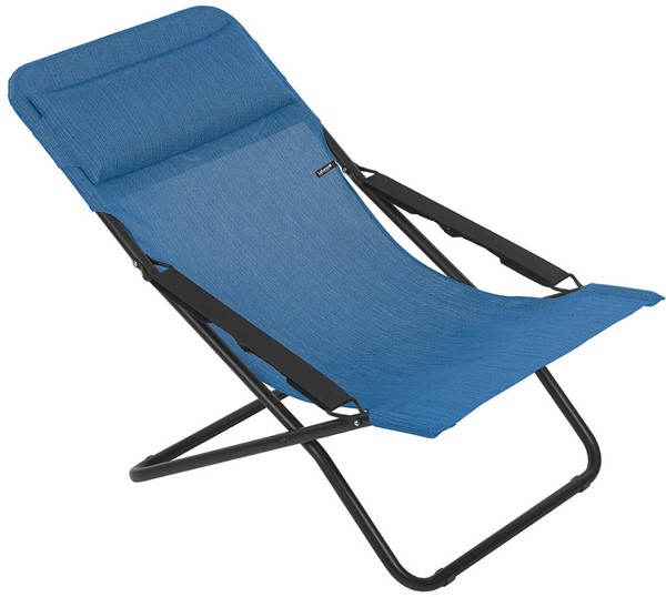 Homeroots Outremer Fabric Black Steel Folding Sling Chair OCN-320620
