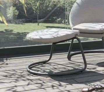 Homeroots Latte Hedona Fabric Titane Steel Footrest OCN-320651