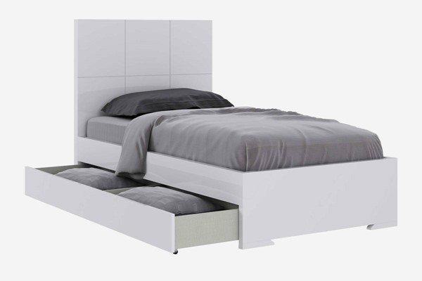 HomeRoots High Gloss White Wood Square Design Headboard Twin Trundle Bed OCN-320695