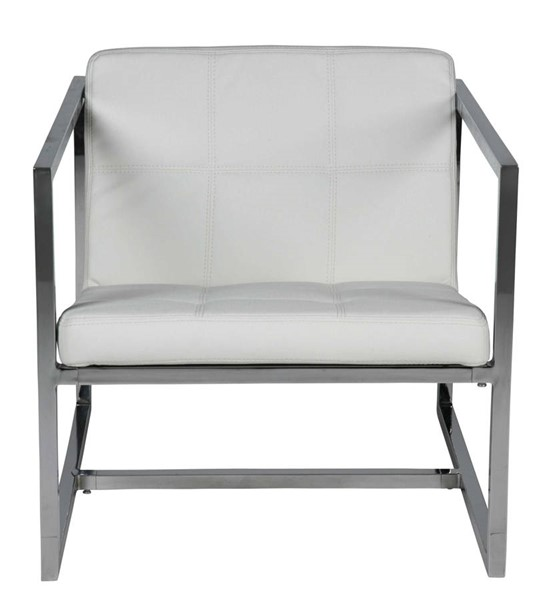 HomeRoots White Faux Leather Chrome Frame Chair OCN-320699
