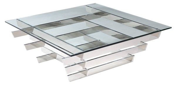 Homeroots Clear Glass Stainless Steel Base Coffee Table OCN-320721