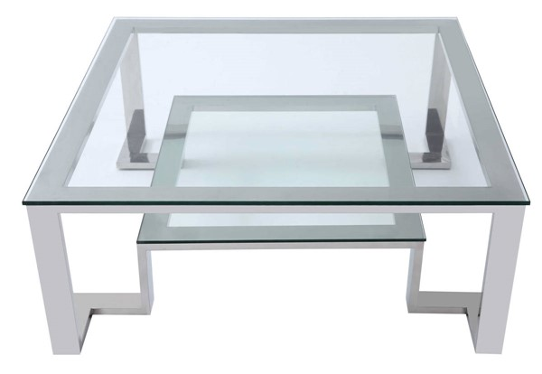 Homeroots Clear Glass Top Stainless Steel Base Square Coffee Table OCN-320725