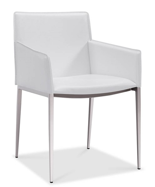 Homeroots White Faux Leather Brushed Nickel Frame Dining Arm Chair OCN-320727