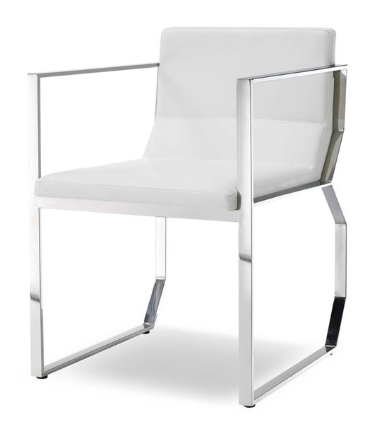 Homeroots White Faux Leather Stainless Steel Frame Dining Arm Chair White OCN-320729