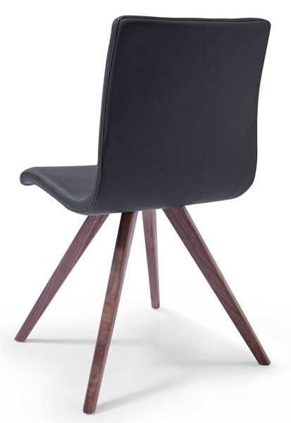 Homeroots Black Faux Leather Natural Walnut Solid Wood Legs Dining Chairs OCN-320735-DR-CH-VAR