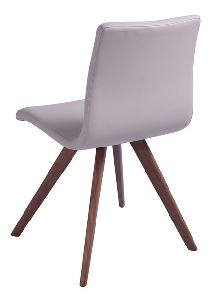 2 Homeroots Taupe Faux Leather Natural Walnut Solid Wood Legs Dining Chairs OCN-320737