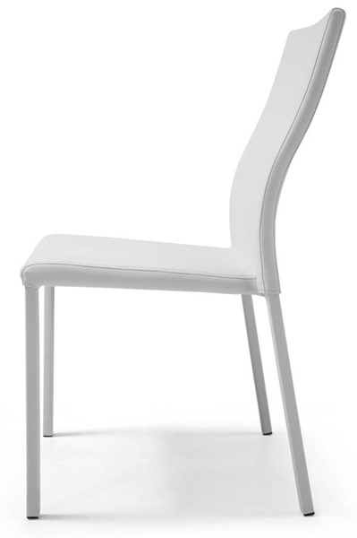 4 Homeroots White Faux Leather Stackable Dining Chairs OCN-320740