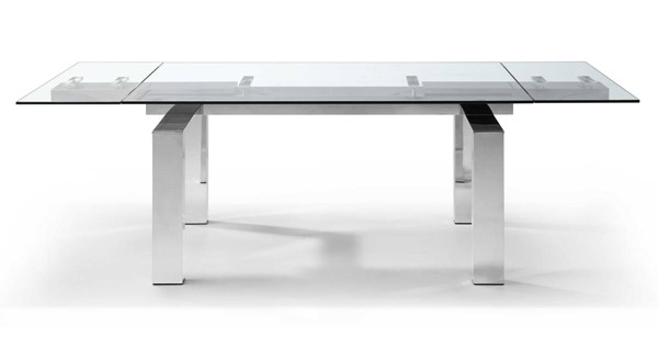 Homeroots Clear Glass Top Aluminum Extendable Dining Table OCN-320769