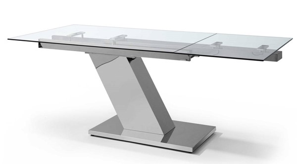 Homeroots Clear Glass Top Stainless Steel Base Extendable Dining Table OCN-320770