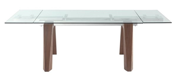Homeroots Clear Glass Top Wood Legs Extendable Dining Table OCN-320772