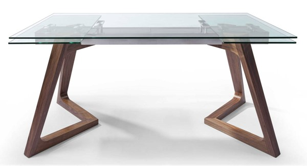 Homeroots Clear Glass Top Stainless Steel Extendable Dining Table OCN-320777