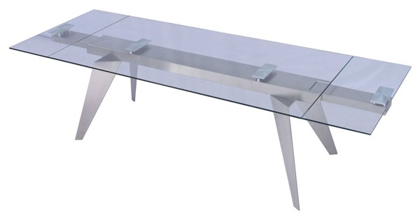 Homeroots Clear Glass Top Stainless Steel Legs Extendable Dining Table OCN-320786