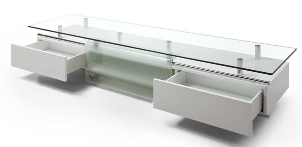 Homeroots High Gloss White Clear Glass Top TV Unit with Sliding Frosted Glass Door OCN-320792