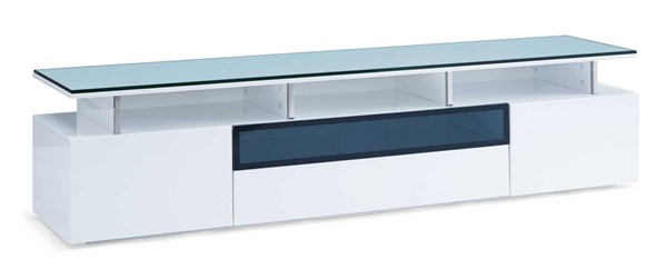 Homeroots High Gloss White Wood TV Unit with Drawer and 2 Doors OCN-320793