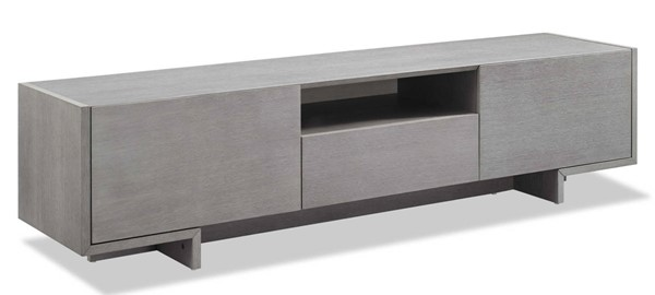 Homeroots Gray Wood TV Unit with 1 Middle Drawer and 2 Lid Doors OCN-320797