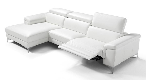 Homeroots White Leather LAF Sectional OCN-320868