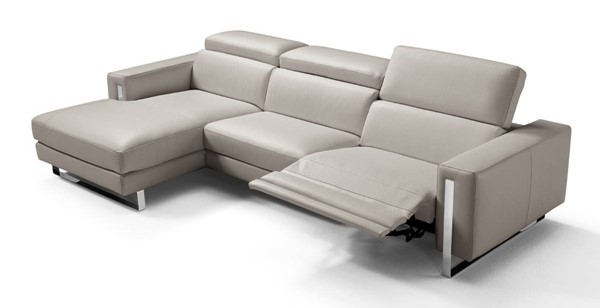 Homeroots Warm Grey Leather Sectional OCN-320869