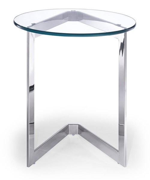 Homeroots Clear Glass Top Stainless Steel Base Round Side Table OCN-320893