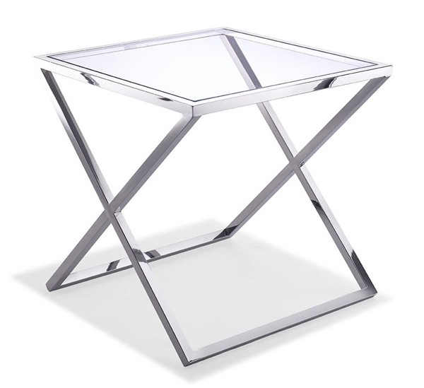 Homeroots Clear Glass Top Stainless Steel Base Side Table OCN-320896
