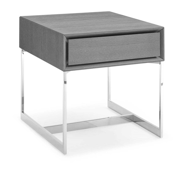 Homeroots Gray Oak Wood Stainless Steel Legs One Drawer Side Table OCN-320897