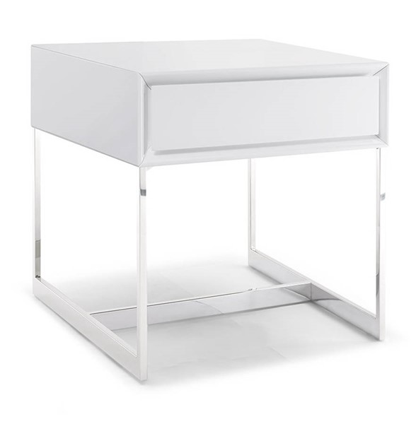 Homeroots High Gloss White Wood Stainless Steel Legs One Drawer Side Table OCN-320898