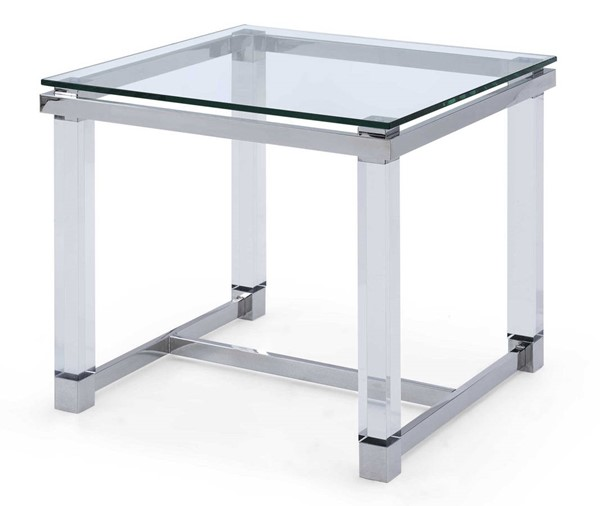 Homeroots Clear Glass Top Acrylic Legs Side Table OCN-320905