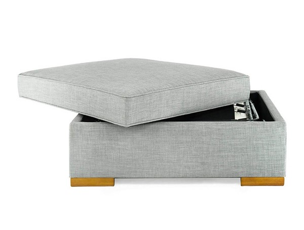 HomeRoots Gray Fabric Convertible Ottoman Guest Bed OCN-321444