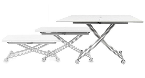 Homeroots White MDF Transforming Coffee and Dining Table OCN-321446