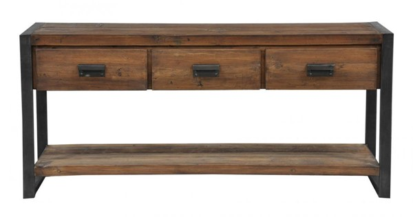 HomeRoots Urban Port Brown Black Three Drawers Console Table OCN-322838