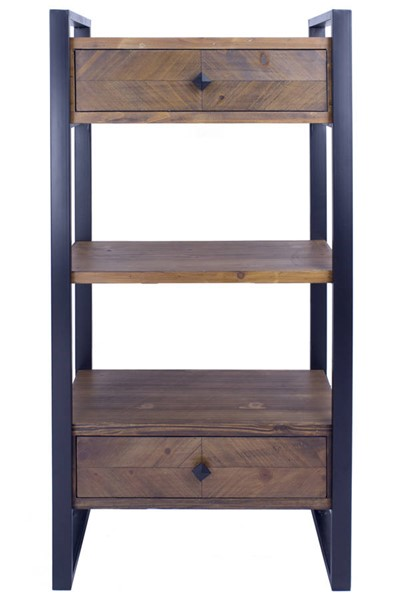 Homeroots Natural Wood Metal End Table with 2 Drawers and 3 Shelves OCN-328688