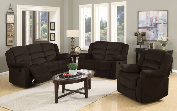 HomeRoots Contemporary Brown Fabric 3pc Living Room Set OCN-329366