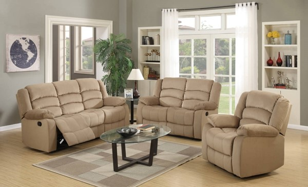 HomeRoots Contemporary Beige Fabric 3pc Living Room Set OCN-329370