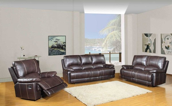 HomeRoots Brown Leather Stylish 3pc Living Room Set OCN-329406