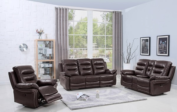 HomeRoots Brown Leather Comfortable 3pc Living Room Set OCN-329416